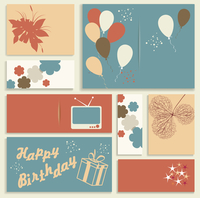 Illustration for happy birthday card. Vector.