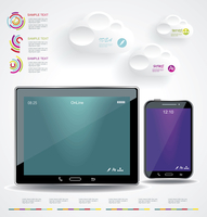 Modern Infographic with a touch screen smartphone in the middle.  60016004683| 写真素材・ストックフォト・画像・イラスト素材|アマナイメージズ