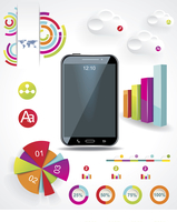 Modern Infographic with a touch screen smartphone in the middle.  60016004685| 写真素材・ストックフォト・画像・イラスト素材|アマナイメージズ