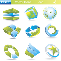 Eco related symbols and icons in green and blue colors. Eco  symbols and icons