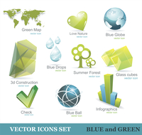 Eco friendly icon set in green and blue
