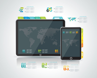 Website design template elements: Tablet PC with Smart phone and icons set  60016005354| 写真素材・ストックフォト・画像・イラスト素材|アマナイメージズ