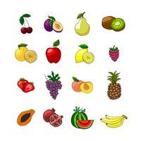 Fruits icons set of orange grape apple strawberry kiwi pineapple cherry and others vector illustration