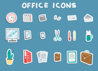 Business office stationery supplies sticker icons set of workplace items coffee documents and files isolated vector illustration 60016006032| 写真素材・ストックフォト・画像・イラスト素材|アマナイメージズ