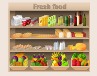 Supermarket shelves with food drinks fruits vegetables bread milk and grocery vector illustration 60016006042| 写真素材・ストックフォト・画像・イラスト素材|アマナイメージズ