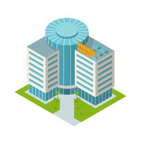 Modern 3d urban business center office building isometric isolated vector illustration 60016006067| 写真素材・ストックフォト・画像・イラスト素材|アマナイメージズ
