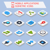 Mobile phone applications search settings mail isometric icons set  isolated vector illustration