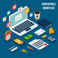 Workplace isometric elements set with notebook coffee cup document vector illustration 60016006102| 写真素材・ストックフォト・画像・イラスト素材|アマナイメージズ