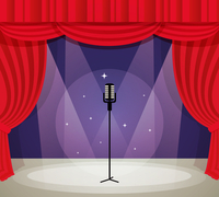 Stage with microphone in spotlight with red curtain background vector illustration.