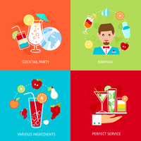 Cocktail party barman various ingredients perfect service decorative icons set isolated vector illustration 60016006187| 写真素材・ストックフォト・画像・イラスト素材|アマナイメージズ