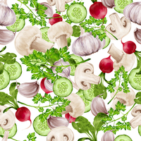 Vegetable organic food realistic mix seamless pattern vector illustration