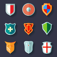 Antique army shields crest medieval heraldry flat icons set  isolated vector illustration 60016006232| 写真素材・ストックフォト・画像・イラスト素材|アマナイメージズ