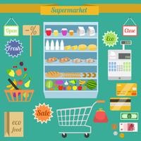 Supermarket flat elements with shelf shopping cart money purse vector illustration 60016006249  写真素材・ストックフォト・画像・イラスト素材 アマナイメージズ