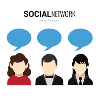 Male and female avatars and speech bubble social network poster vector illustration 60016006347| 写真素材・ストックフォト・画像・イラスト素材|アマナイメージズ