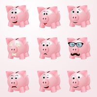 Pink piggy bank emoticons with cheerful curious hipster happy emotion faces isolated vector illustration