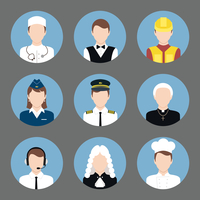 Avatar business users flat icons set of clerk chef construction worker priest isolated vector illustration 60016006376| 写真素材・ストックフォト・画像・イラスト素材|アマナイメージズ