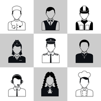 Avatar social network pictograms set of lawyer cook engineer doctor pilot isolated vector illustration 60016006379| 写真素材・ストックフォト・画像・イラスト素材|アマナイメージズ