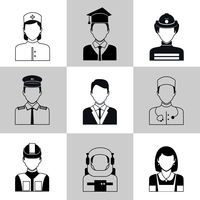 Avatar social network pictograms set of maid firefighter construction worker manager isolated vector illustration 60016006380| 写真素材・ストックフォト・画像・イラスト素材|アマナイメージズ