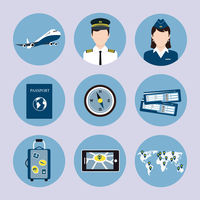 Airlines travel concept icons set with pilot stewardess passport luggage trolley tickets vector isolated illustration