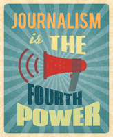 Journalism press news reporter profession poster with red megaphone and text vector illustration