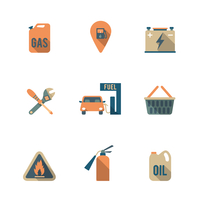 Gas fueling pump electric car charging station mechanic repair service icons set flat isolated abstract vector illustration 60016006431| 写真素材・ストックフォト・画像・イラスト素材|アマナイメージズ