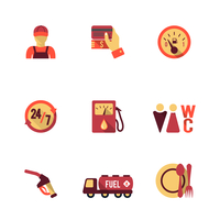 Gas petrol fuel pay at the pump 24h availability station icons set flat isolated abstract vector illustration 60016006432| 写真素材・ストックフォト・画像・イラスト素材|アマナイメージズ