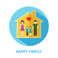 Happy family flat concept icon with parents and two children at home vector illustration