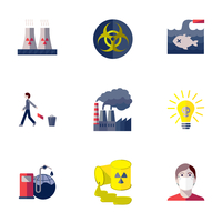Pollution toxic environment damage and global contamination flat isolated vector illustration.