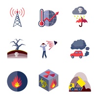 Pollution toxic environment damage and contamination flat icons isolated vector illustration