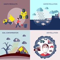 Pollution waste products water soil air contamination icons flat set isolated vector illustration