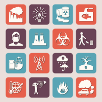 Pollution toxic environment damage radioactive garbage and contamination silhouette icons isolated vector illustration