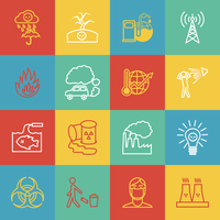 Pollution toxic environment damage radioactive garbage and global warming outline icons isolated vector illustration