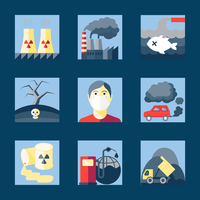 Set of pollution damage environment radioactive icons in flat style on squares vector illustration