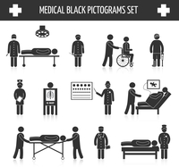 Medical hospital ambulance emergency healthcare tests and services black pictograms set isolated vector illustration