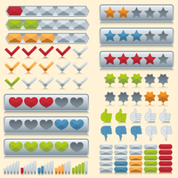 Rating voting icons set of stars check marks hearts isolated vector illustration