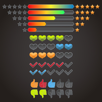 Colorful rating evaluation icons set of stars check marks hearts isolated vector illustration