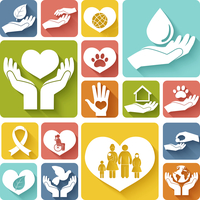 Charity donation social services emblems flat icons set isolated vector illustration