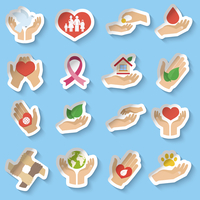 Charity donation social services emblems paper stickers set isolated vector illustration