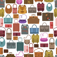 Women fashion and travel baggage bags shopping seamless pattern vector illustration