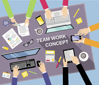 Business team teamwork concept top view people on table vector illustration