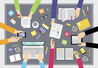 Business people teamwork concept top view people on squared table vector illustration