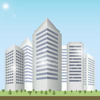 Modern urban building on street cityscape skyline vector illustration. 60016006782| 写真素材・ストックフォト・画像・イラスト素材|アマナイメージズ