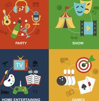 Entertainment flat icon composition set isolated vector illustration 60016006806| 写真素材・ストックフォト・画像・イラスト素材|アマナイメージズ