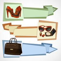Three horizontal women luxury products advertisement banners set with leather footwear bag and cosmetics isolated vector illustr