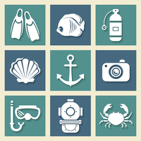 Nautical sea symbols icons set with anchor crab and underwater diving equipment silhouettes abstract isolated vector illustratio 60016006835| 写真素材・ストックフォト・画像・イラスト素材|アマナイメージズ