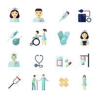 Nurse health care medical icons flat set isolated vector illustration