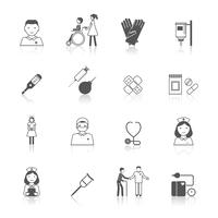 Nurse health care medical hospital icons set isolated vector illustration