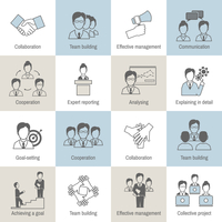 Teamwork business collaboration effective management flat line icons set isolated vector illustration