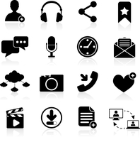 Social network icons black set with web navigation elements isolated vector illustration 60016007034| 写真素材・ストックフォト・画像・イラスト素材|アマナイメージズ