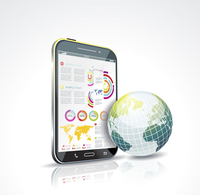 Illustration of a smart phone and globe. Vector.